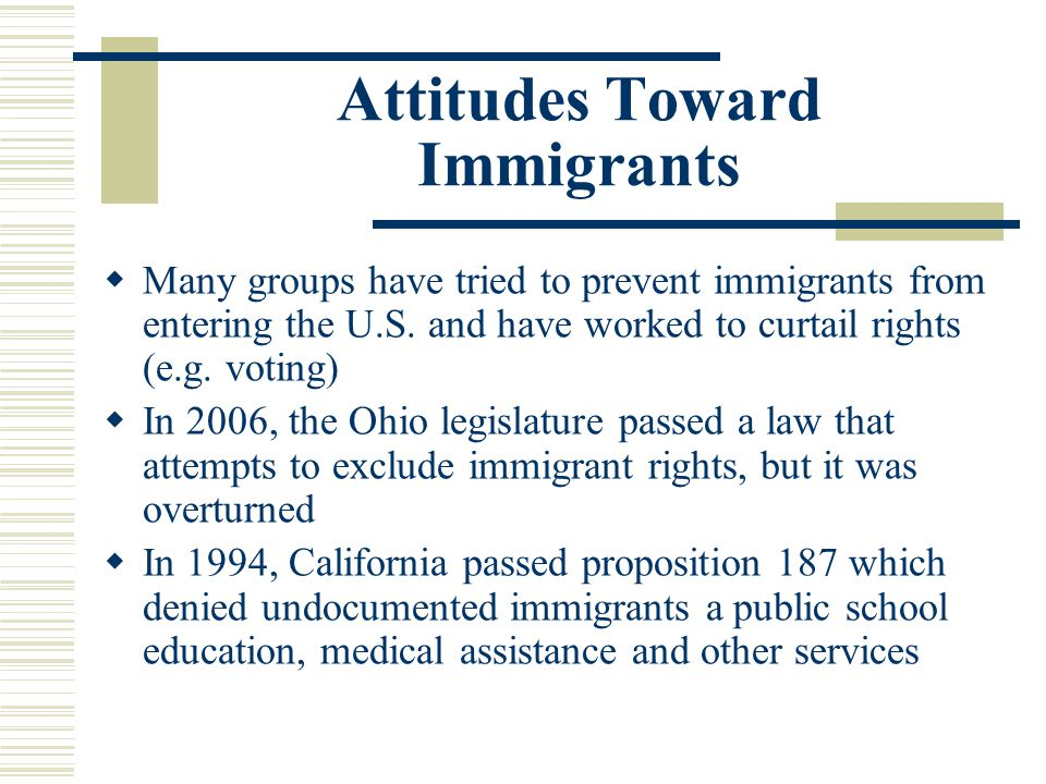Attitudes Toward Immigrants