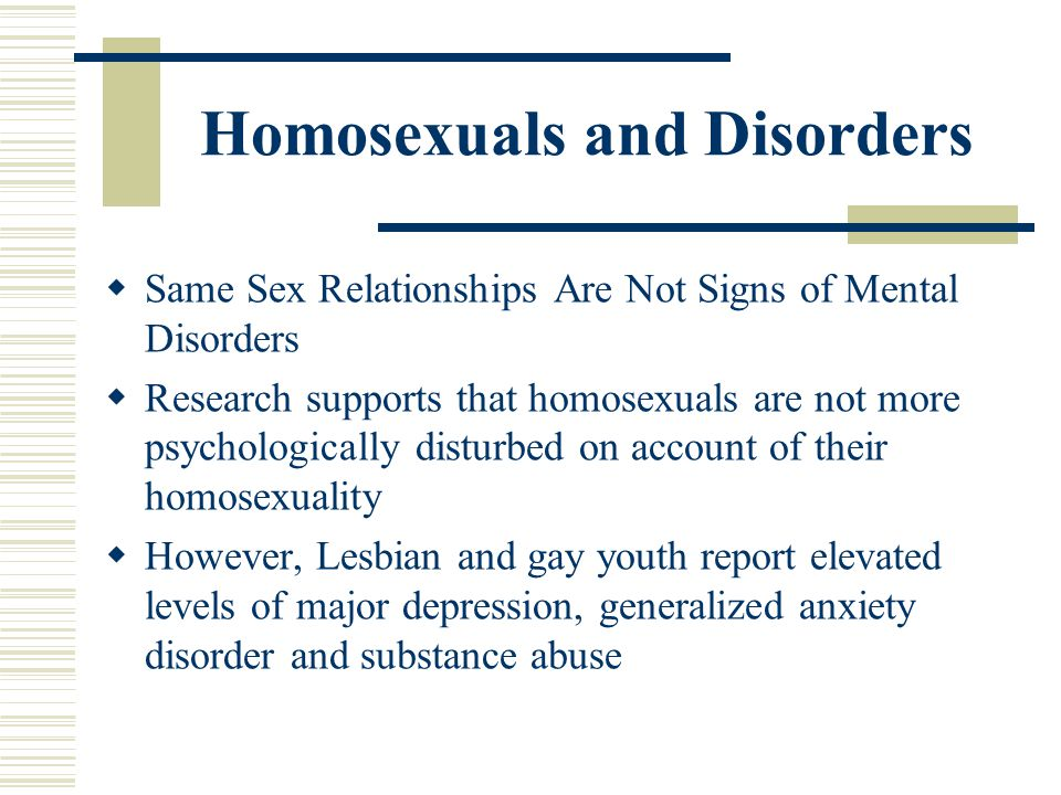 Homosexuals and Disorders