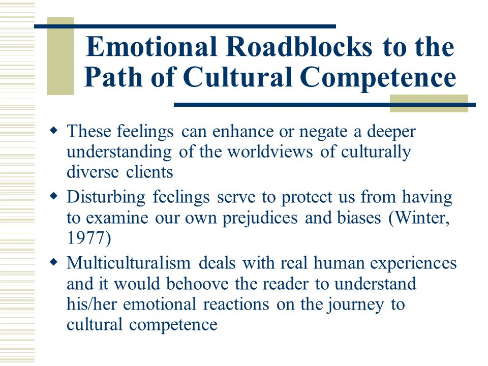 Emotional Roadblocks to the Path of Cultural Competence