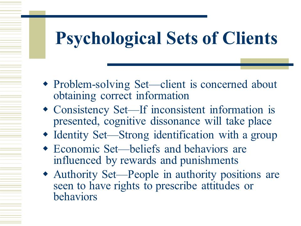 Psychological Sets of Clients