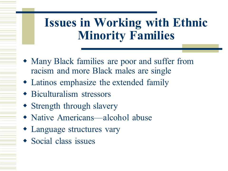 Issues in Working with Ethnic Minority Families