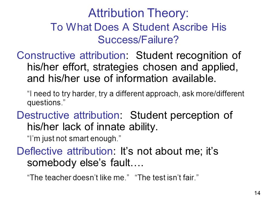 Attribution Theory: To What Does A Student Ascribe His Success/Failure