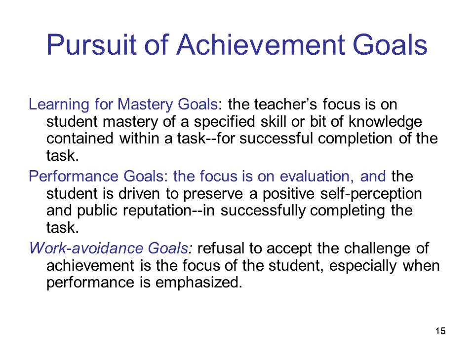 Pursuit of Achievement Goals