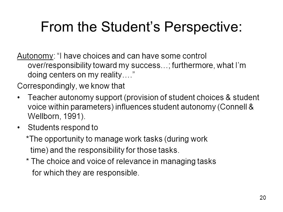 From the Student's Perspective: