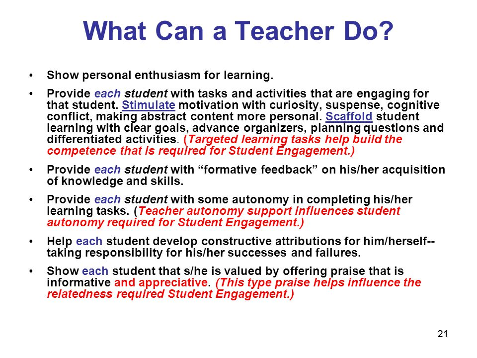What Can a Teacher Do Show personal enthusiasm for learning.
