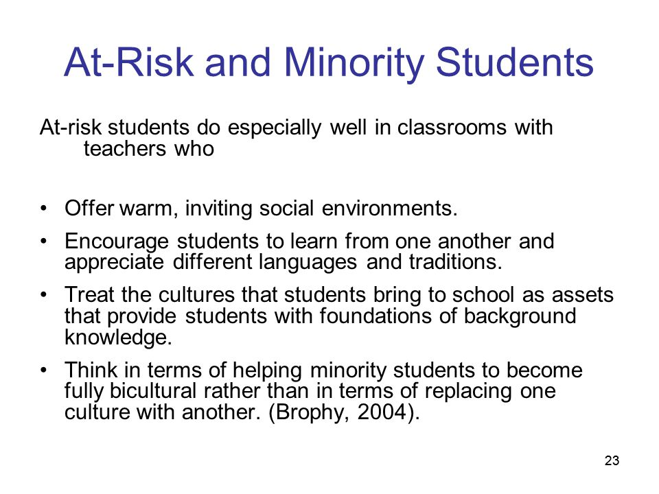 At-Risk and Minority Students