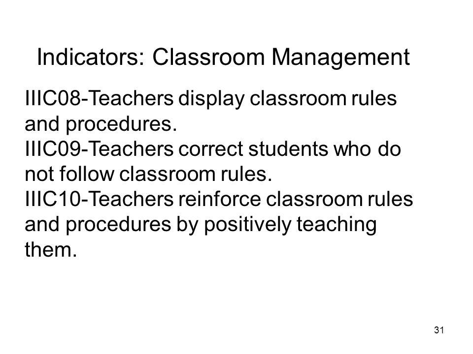 Indicators: Classroom Management