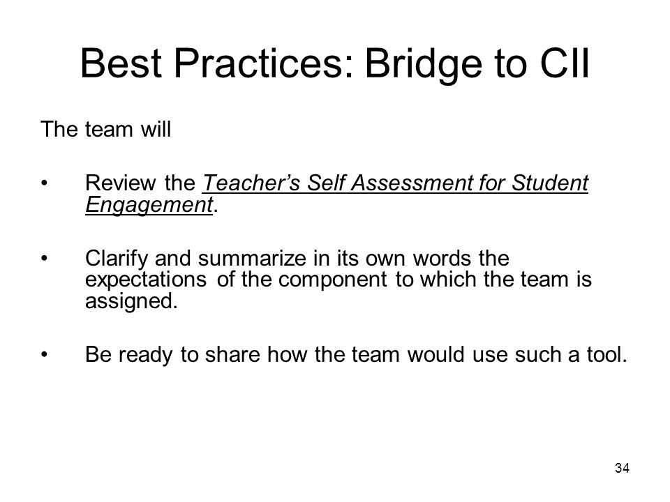 Best Practices: Bridge to CII