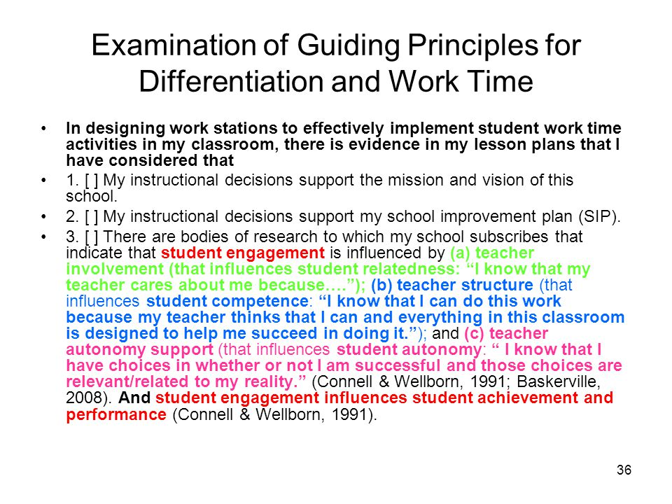 Examination of Guiding Principles for Differentiation and Work Time