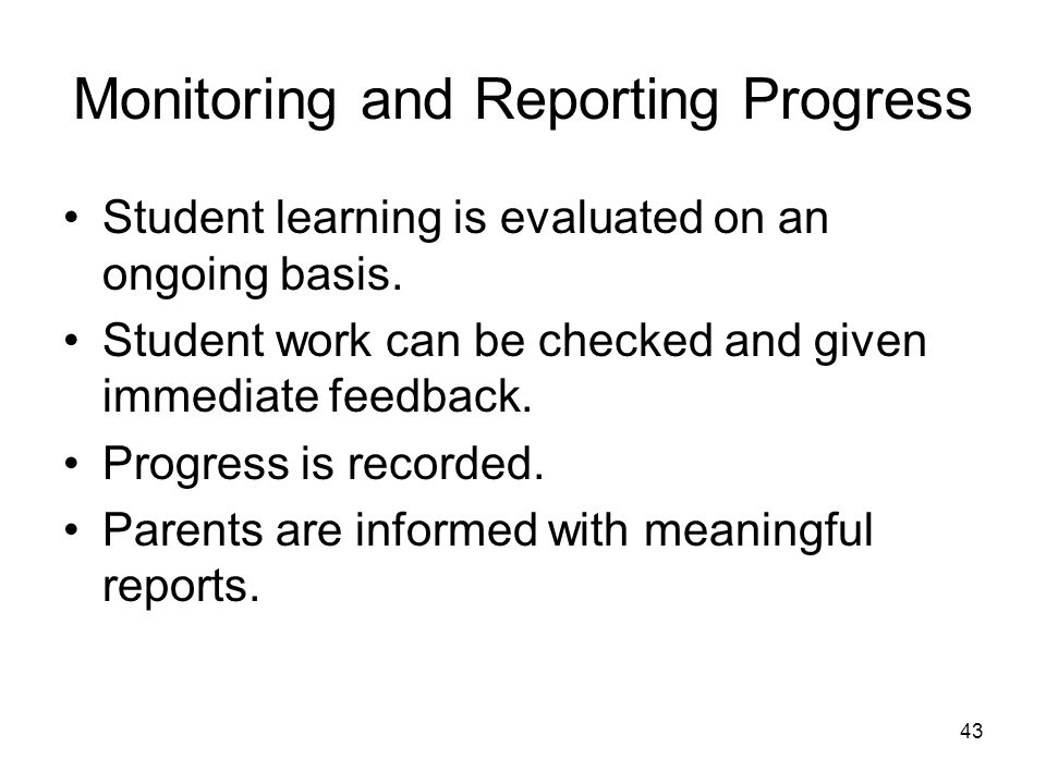 providing feedback and monitoring student progress essay Based on feedback from educators in new jersey to make it as useful as  with the building principal providing  closer monitoring of student progress, and,.