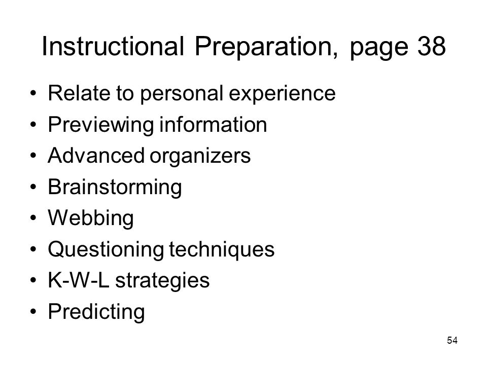Instructional Preparation, page 38