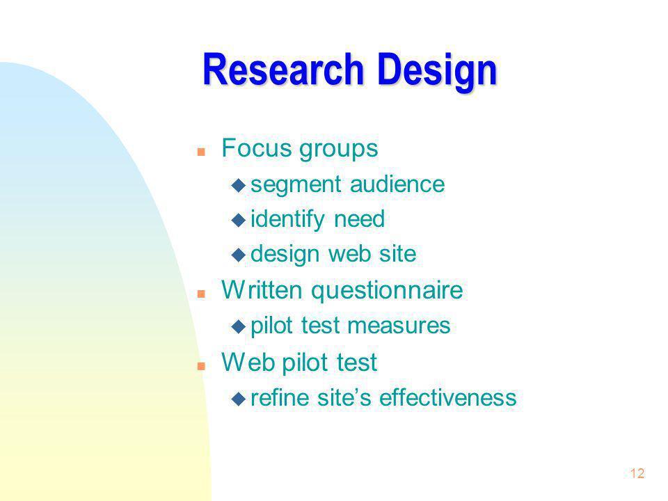 Research Design Focus groups Written questionnaire Web pilot test