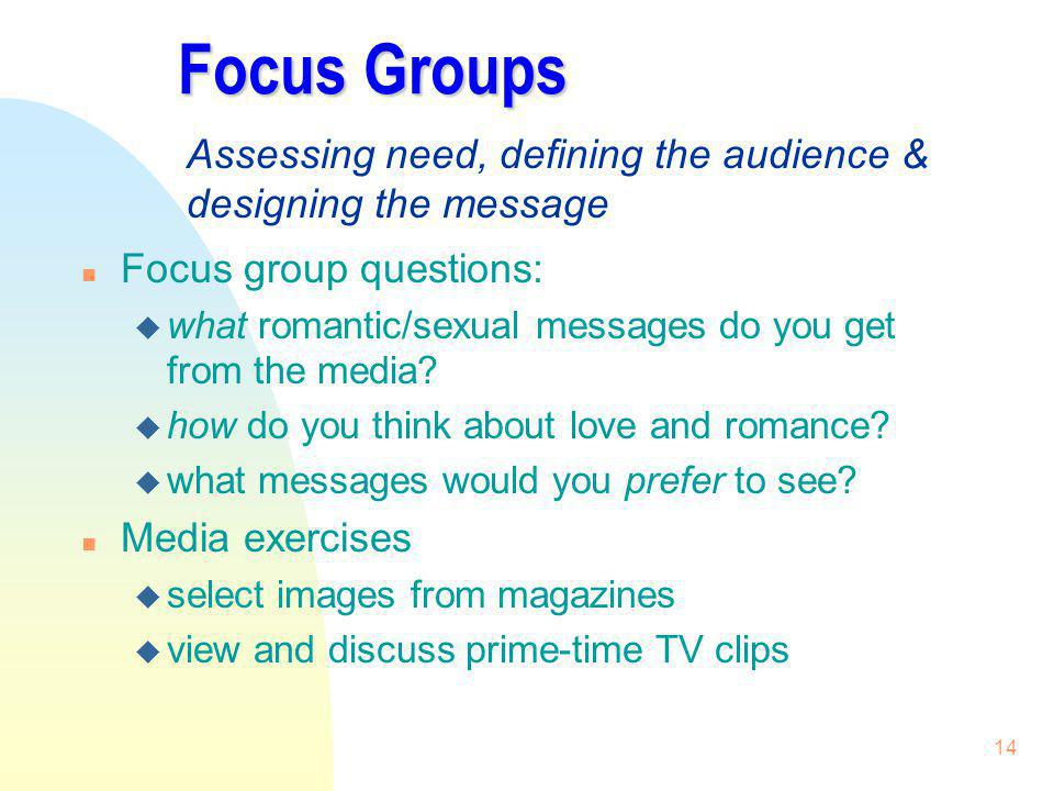 3/31/2017 Focus Groups. Assessing need, defining the audience & designing the message. Focus group questions: