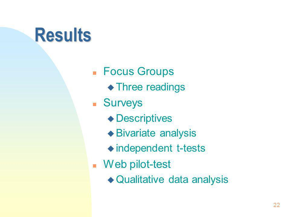 Results Focus Groups Surveys Web pilot-test Three readings