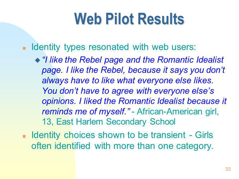 Web Pilot Results Identity types resonated with web users: