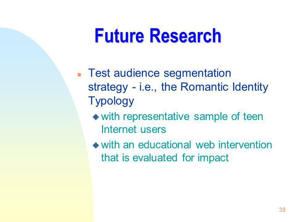 Future Research Test audience segmentation strategy - i.e., the Romantic Identity Typology. with representative sample of teen Internet users.