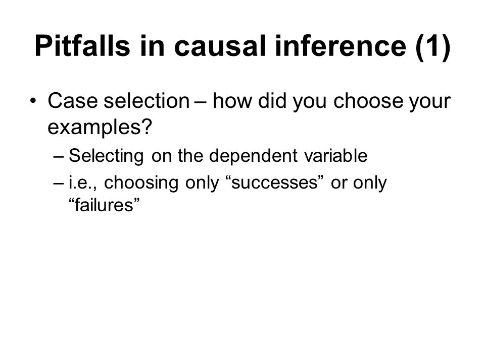 Pitfalls in causal inference (1)