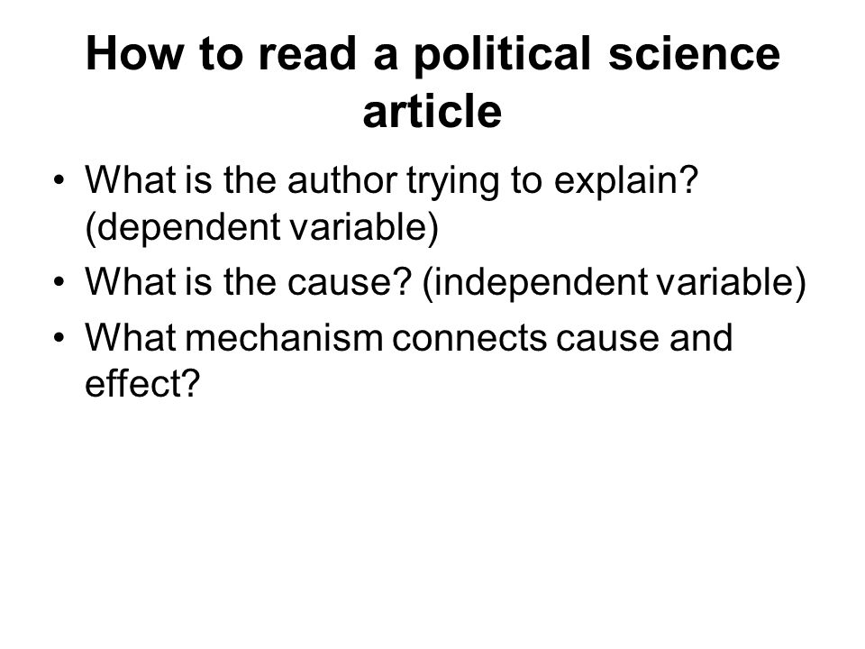 How to read a political science article