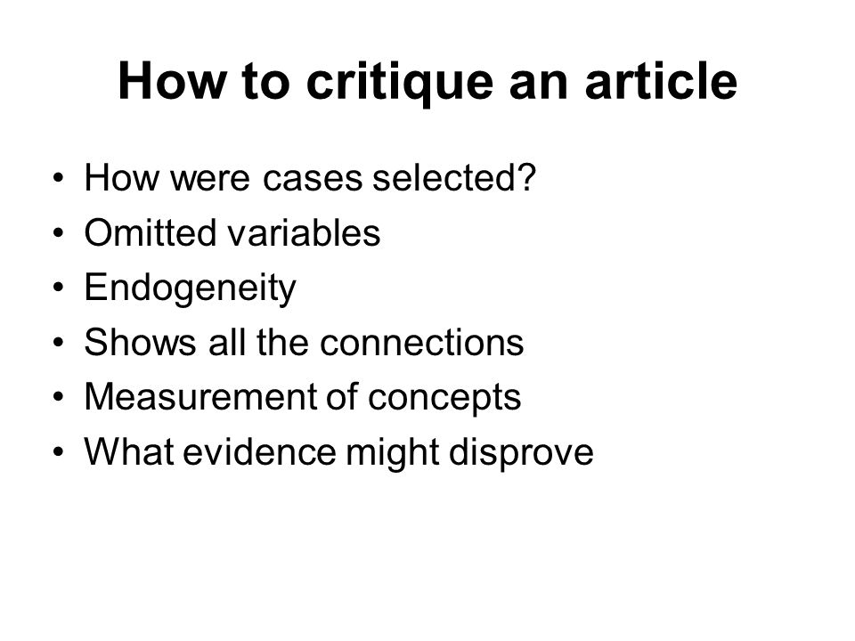 How to critique an article