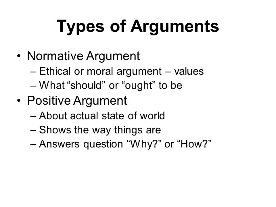 Types of Arguments Normative Argument Positive Argument