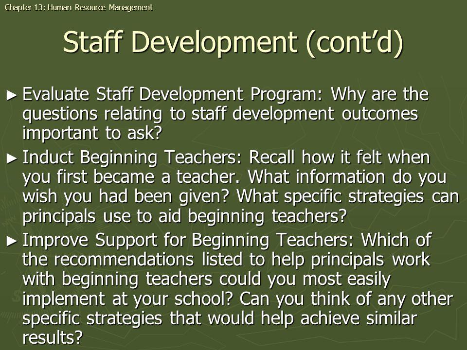 Staff Development (cont'd)