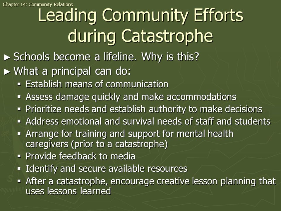 Leading Community Efforts during Catastrophe