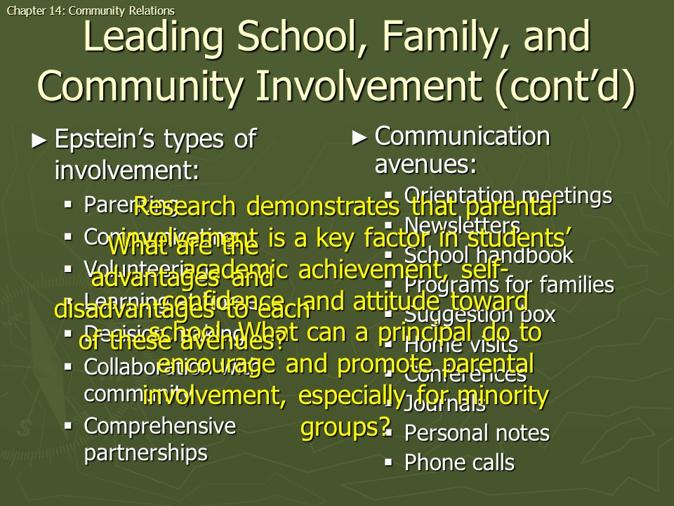 Leading School, Family, and Community Involvement (cont'd)