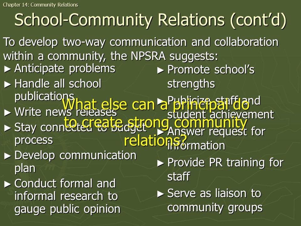 School-Community Relations (cont'd)