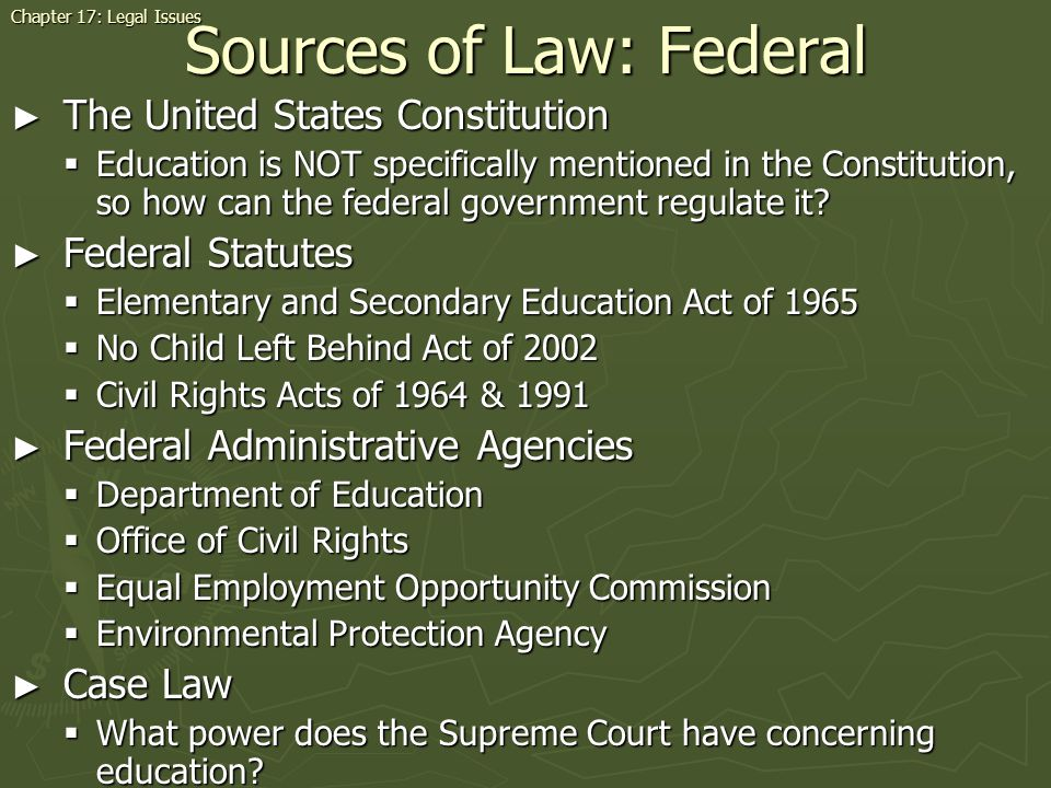 Sources of Law: Federal
