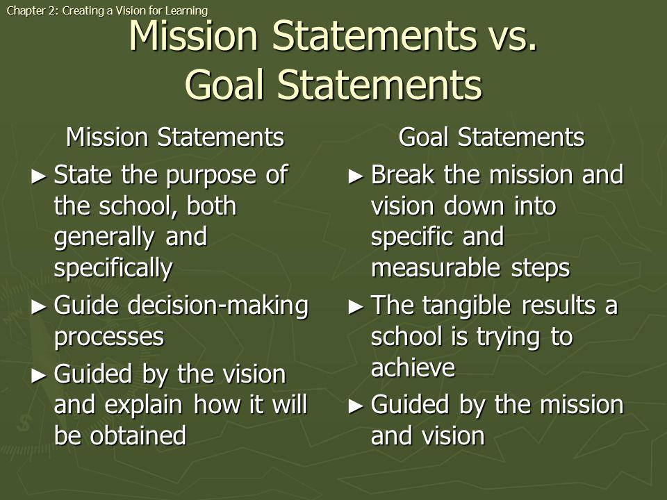 Mission Statements vs. Goal Statements