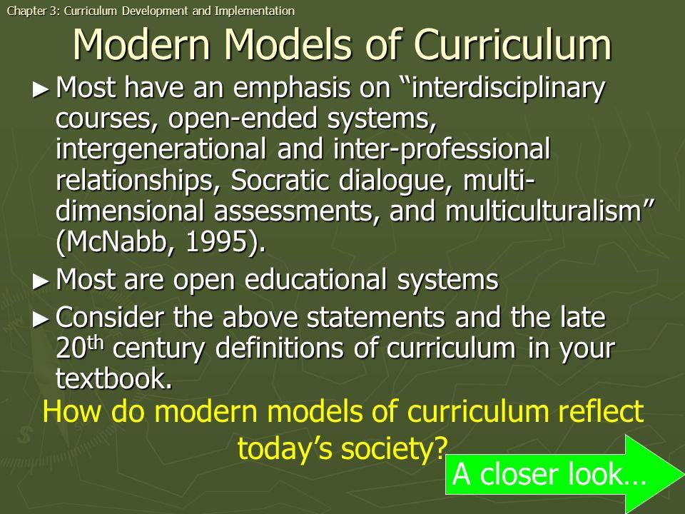 Modern Models of Curriculum