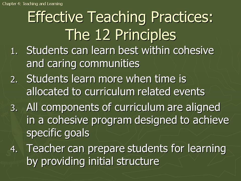 Effective Teaching Practices: The 12 Principles