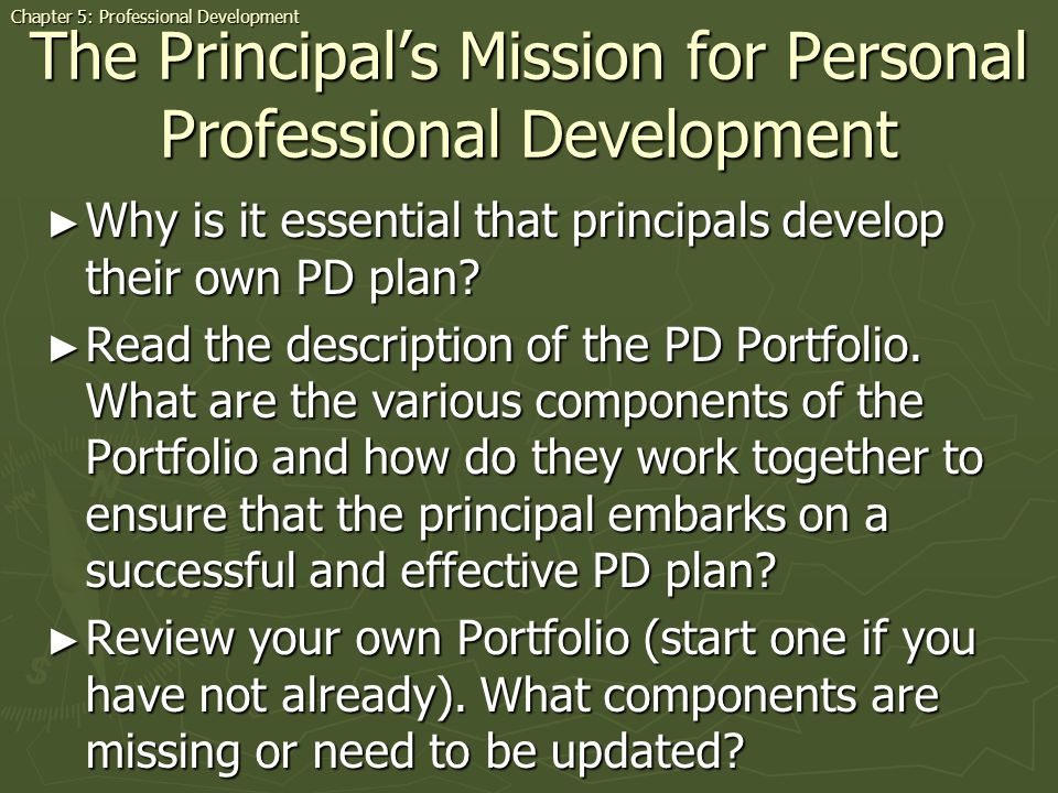 The Principal's Mission for Personal Professional Development