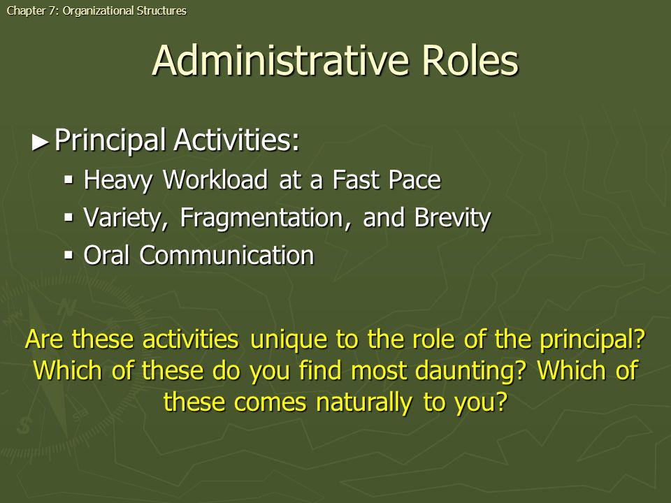 Administrative Roles Principal Activities: