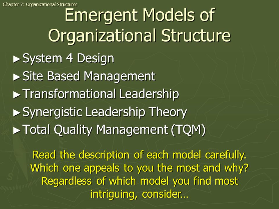 Emergent Models of Organizational Structure