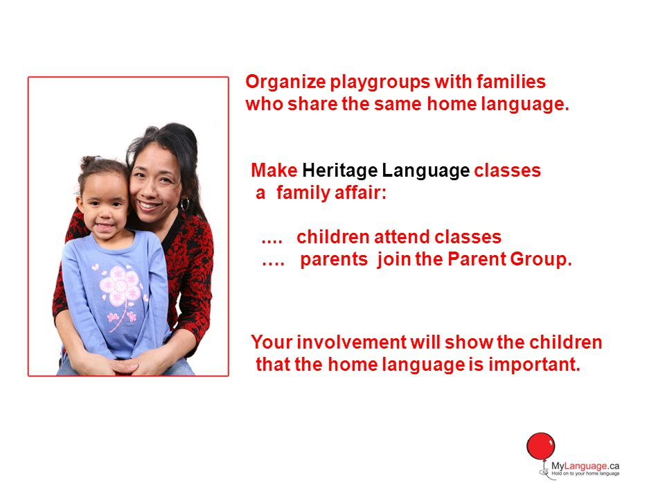 Organize playgroups with families