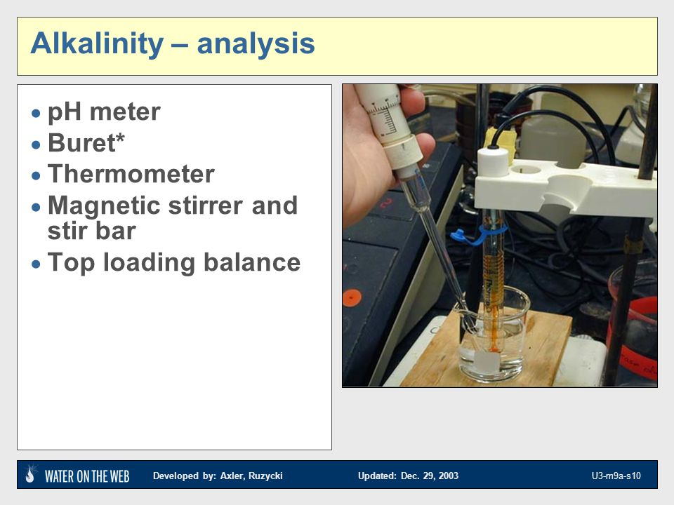 Alkalinity – analysis pH meter Buret* Thermometer