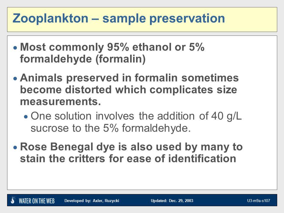 Zooplankton – sample preservation