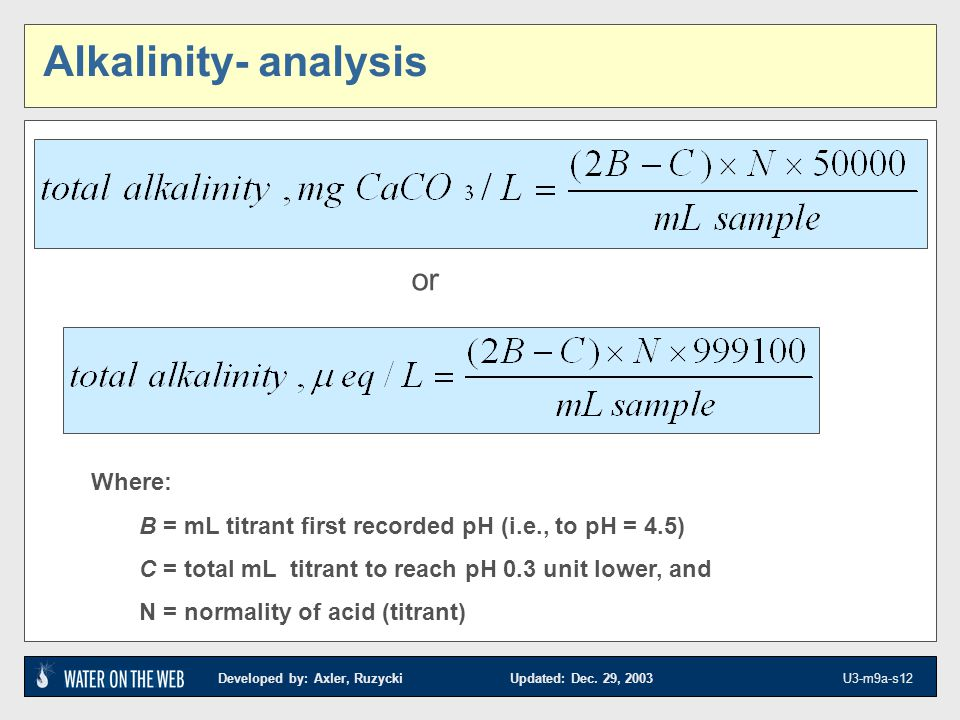 Alkalinity- analysis or Where: