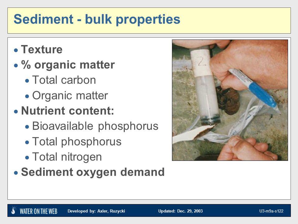 Sediment - bulk properties