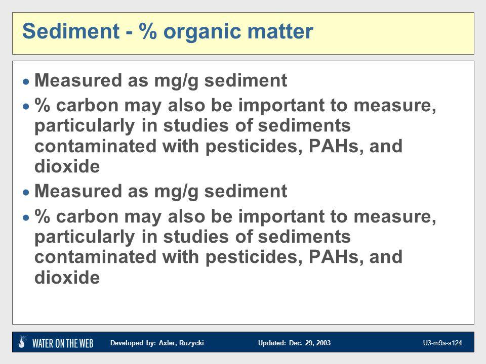 Sediment - % organic matter