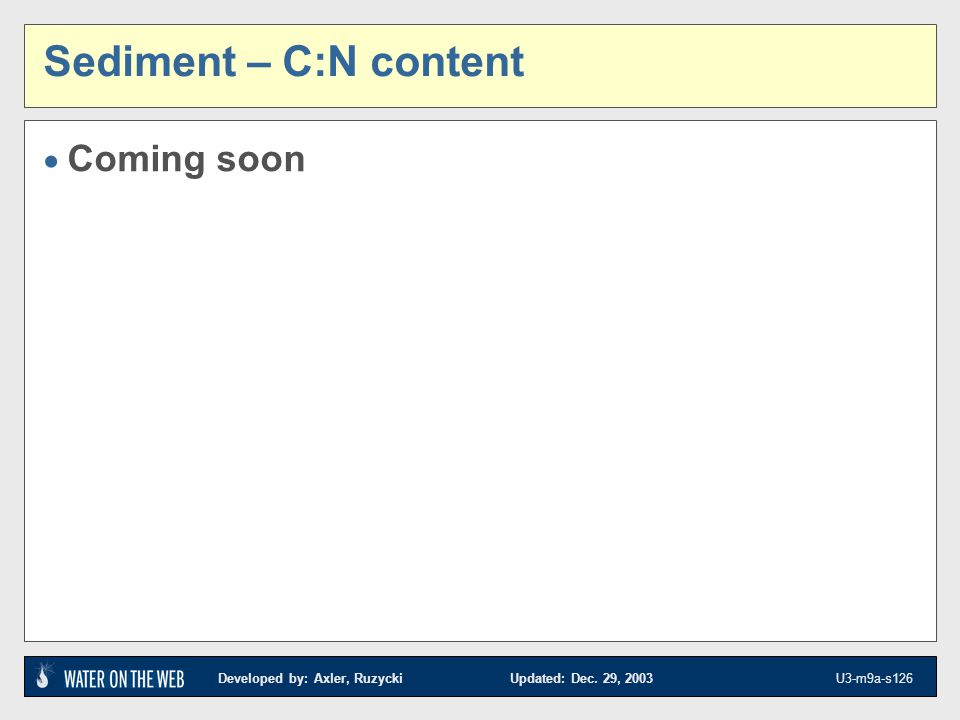 Sediment – C:N content Coming soon