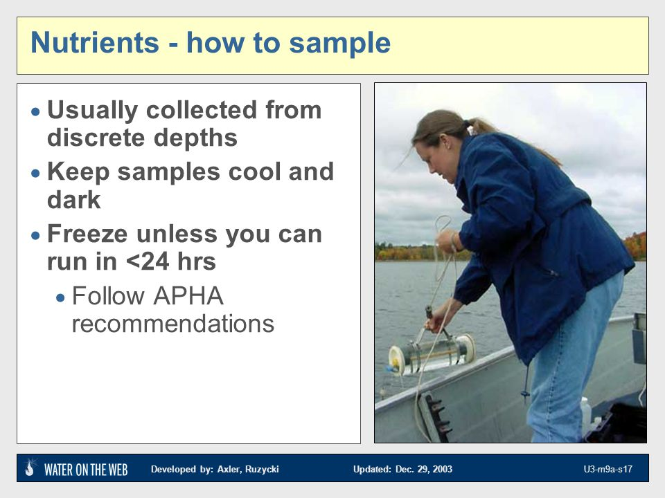 Nutrients - how to sample