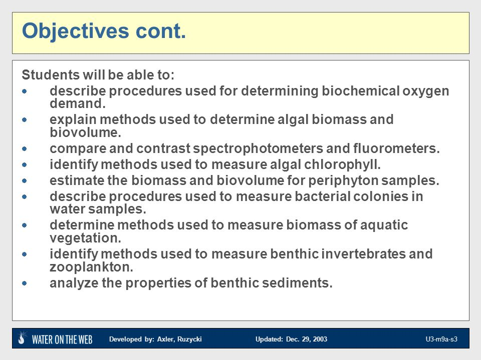 Objectives cont. Students will be able to: