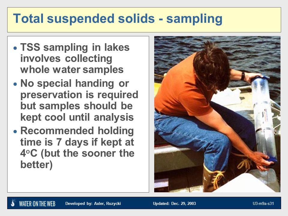 Total suspended solids - sampling