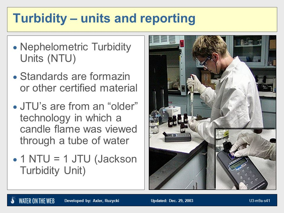 Turbidity – units and reporting
