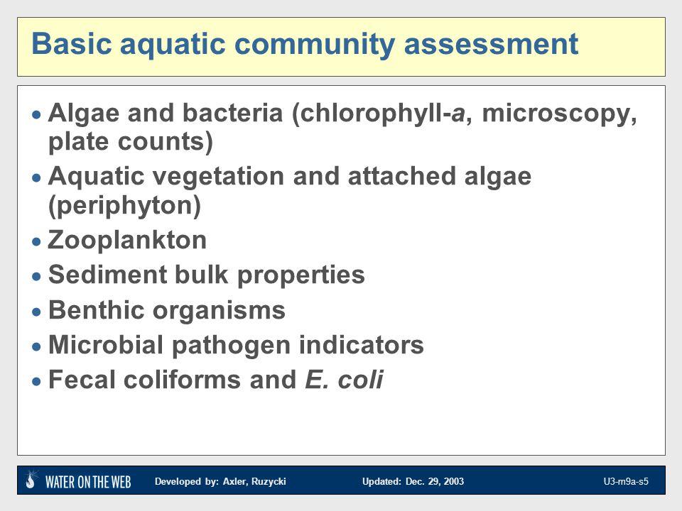 Basic aquatic community assessment
