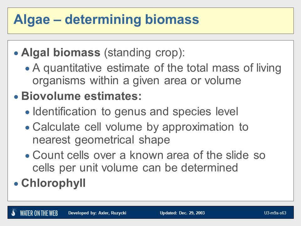 Algae – determining biomass