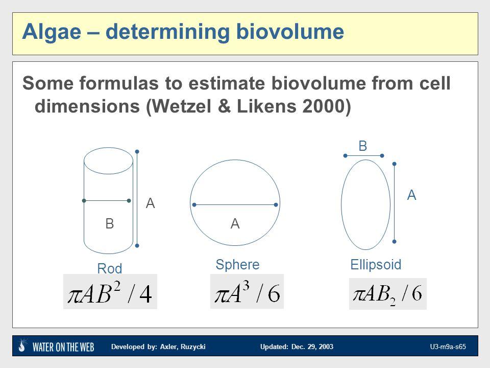 Algae – determining biovolume