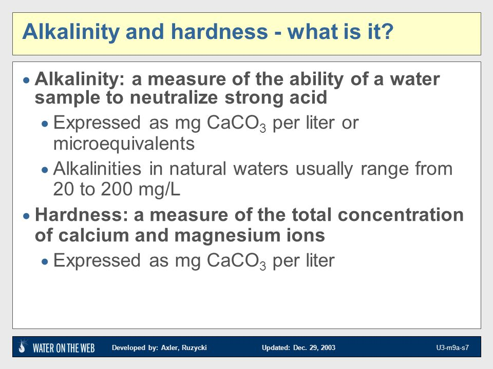 Alkalinity and hardness - what is it